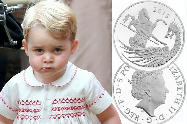 Prince George's second birthday has been marked by a limited edition commemorative coin from the Royal Mint. Prince George's birthday is on July 22 and a sterling silver £5 coin has been struck to mark the event. The coin bears a contemporary re-imagining of the St George and the dragon legend by artist Christopher Le Brun while the other side features the current portrait of the Queen.