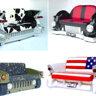 Different vehicles made into seats for everyday living and home decor. Hummer. Classic show car. #undonestar #carseat #mancave