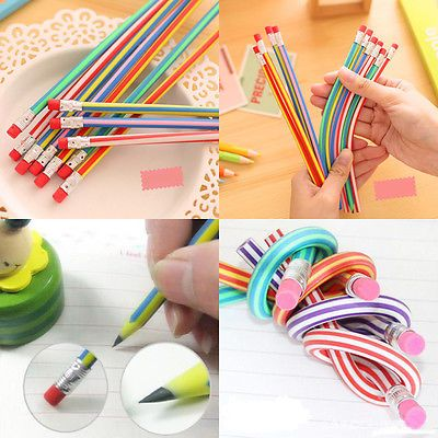 5Pcs-Colorful-Funny-Bendy-Flexible-Soft-Pencil-With-Eraser-For-Kids-Writing-Gift
