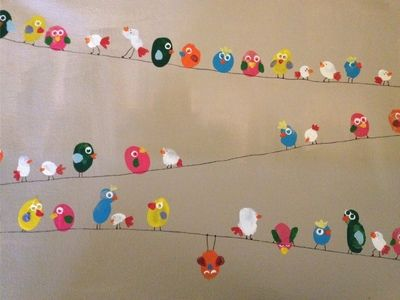 Turn thumbprints into a beautiful canvas to hang on the wall. Perfect gift for any bird lover!