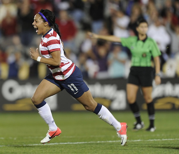 [love her face!!] Sydney Leroux, after she scored in Team USA's 6-2 win over Australia on Sept. 19, 2012. (Karl Gehring/The Denver Post)