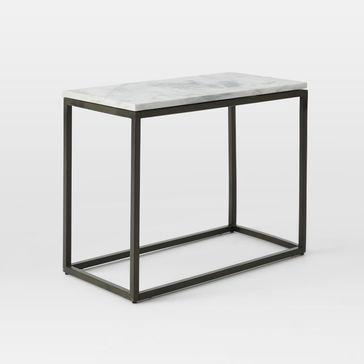 Box Frame Narrow Side Table Marble Antique Bronze Narrow Side Table Glass Side Tables Box Frames