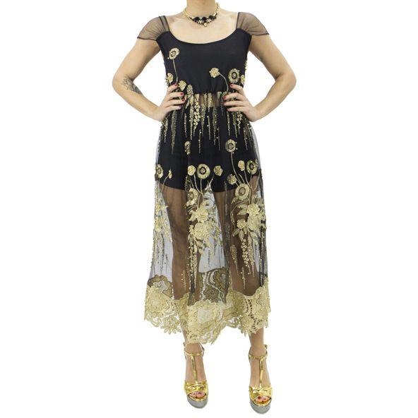 FRANCESCA CONOCI ABITO DONNA MIDI CON #TRASPARENZE E DETTAGLI ORO 375,00 € #Abito #donna lunghezza #midi base #trasparente fondo #nero ,spallina in #tulle trasparente, #ricami #floreali #oro e #micro #borchie con bordatura in #pizzo rigido oro.  #woman #dress #donna #moda #2017 #ricami #black #cerimonia #wedding