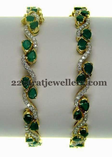 Jewellery Designs: Emerald Bangles with Round Diamonds
