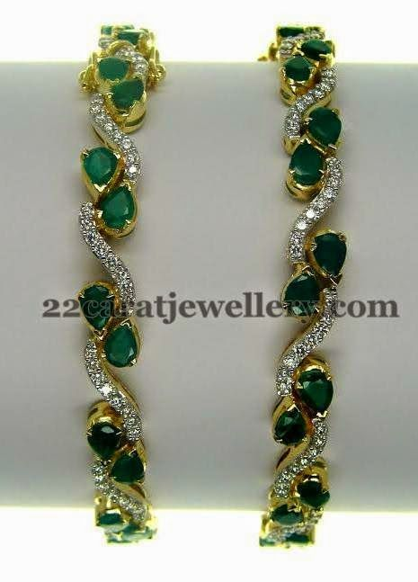 Jewellery Designs: Emerald Bangles with Round Diamonds