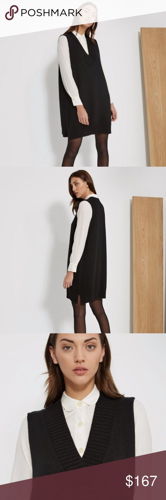SITA MURT | black pinafore dress The perfect warm layer for your winter closet. This black pinafore dress from Sita Murt falls almost to the knees and is perfect layered over lighter long sleeves for a warm and pulled-together layered look.  Color: Black Sita Murt Dresses