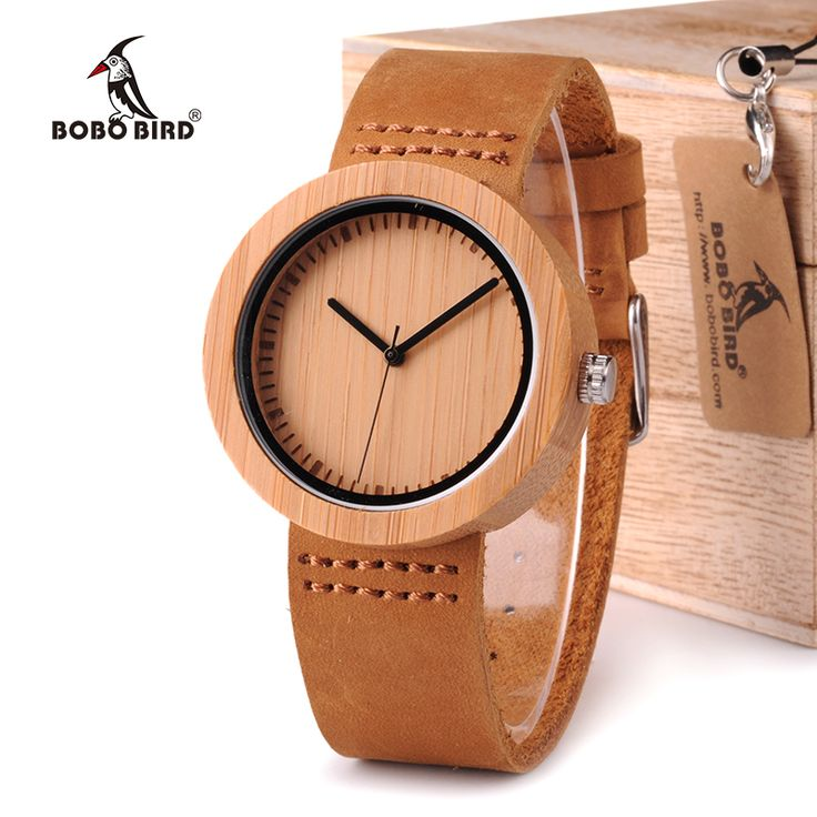 BOBO BIRD Wooden Bamboo Watch with Genuine Brown Leather Strap //Price: $42.00 & FREE Shipping //