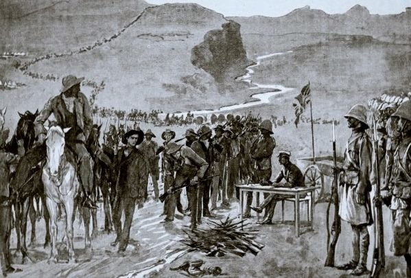 Surrender of Prinsloo's boer forces in Brandwater basin, 1900
