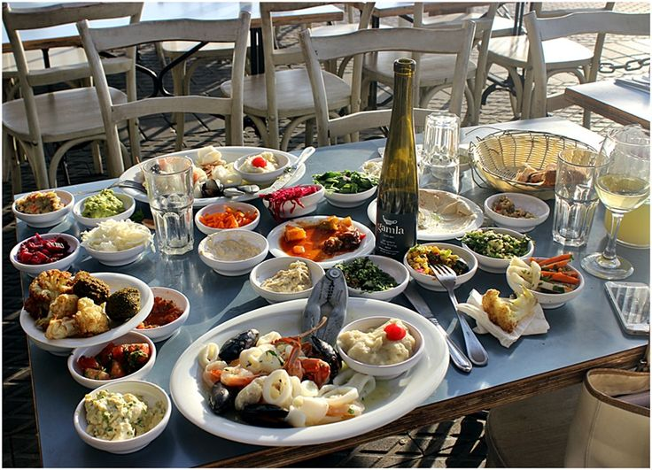 All the yummy salads at Old Man and the Sea in Jaffa Port