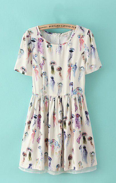 Pastel Jellyfish Printed Chiffon Dress