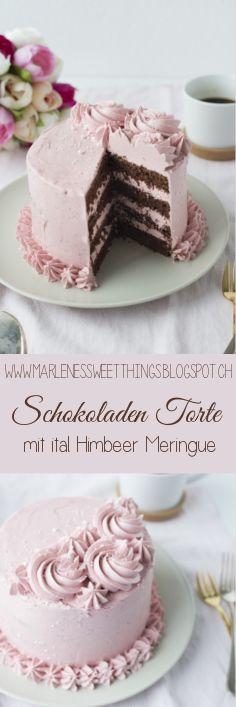 Schokoladen Torte mit italalienischer Himbeer Meringue - Chocolate Cake with italian buttercream Fruchtige Himbeer italienische meringue Buttercreme Italienische Buttercreme auf Frucht Basis !!!!