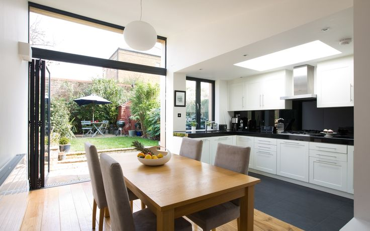 The timber clad extension to this home in Islington provided an airy & spacious dining room and play room.