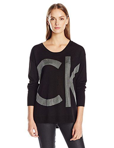 Calvin Klein Jeans Women's Nylon Sparkle Ck Logo Sweater, Black, Medium This 12Gg dtk nylon sweater featuring ribbed trim and sparkle iconic Calvin Klein logo on front.This sweater stands out with its iconic sparkle CK logo on the front panelRibbed collar and hemPair this with CK jeans for a casual modern look