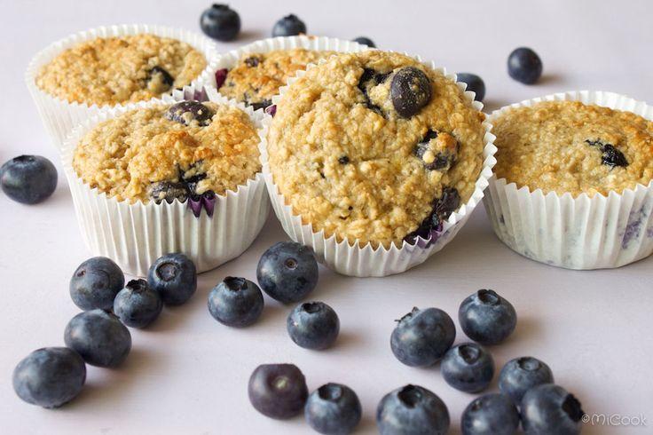 Havermout muffins met blauwe bessen