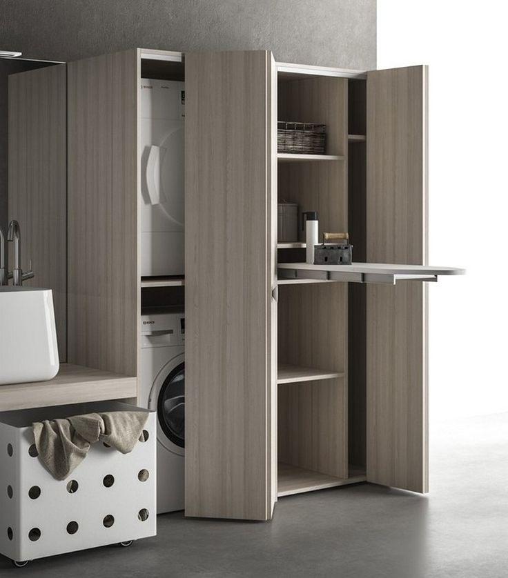 kompakter schrank mit waschmaschine w schetrockner und eingebautem b gelbrett sandys. Black Bedroom Furniture Sets. Home Design Ideas
