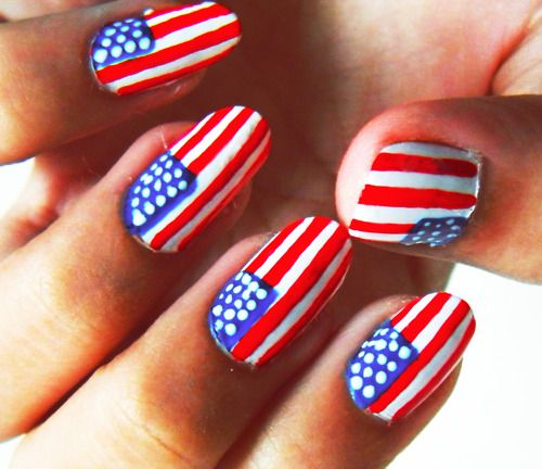 4th of july nails, American nails, Festive nails, July nails, Nails with US flag, Oval nails, Patriot nails, Red white and blue nails