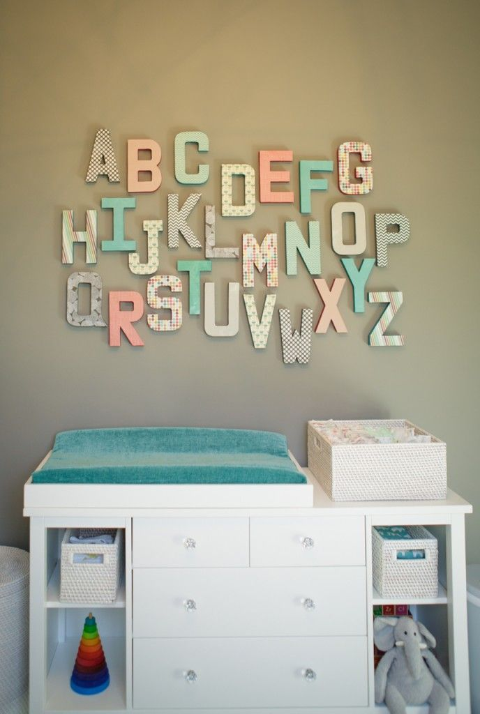 Love this alphabet wall in the nursery - created with coordinating scrapbook paper in the room's color scheme! #nursery #DIY