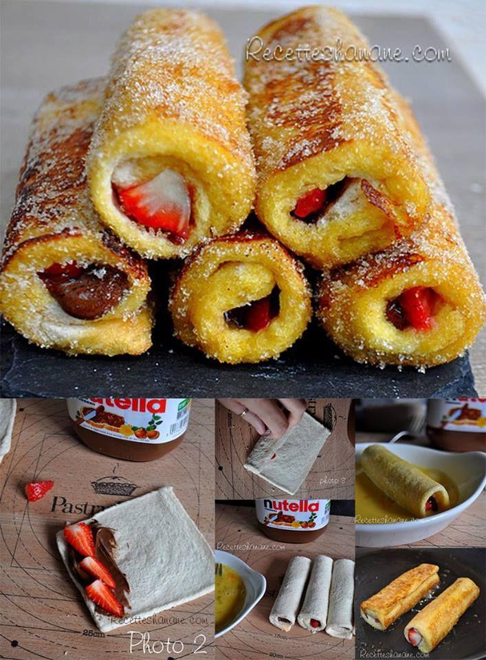 le pain perdu roulé  - 2 œufs - 6 cuil. à soupe de lait - 1 sachet de sucre vanillé - Du Nutella - Des fraises ou des bananes - Du beurre (pour la poêle)  Préparation : - Aplatir les tranches de pain de mie et enlever la croûte - Étaler fruits et Nutella sur un des côtés du pain de mie - Rouler chaque tranche et les tremper dans un mélange oeuf + lait + sucre - Dorer les roulés sur une poêle bien beurrée