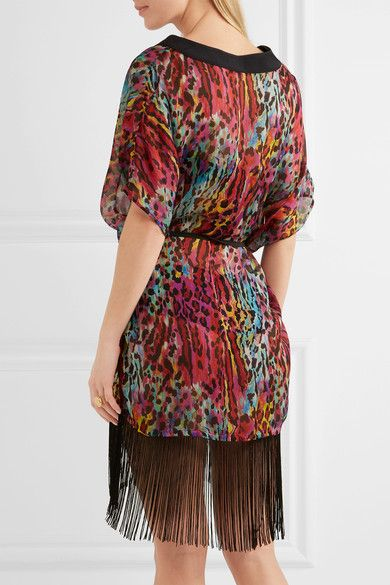 Matthew Williamson - Akita Animal Fringed Leopard-print Silk-chiffon Kaftan - Fuchsia - UK