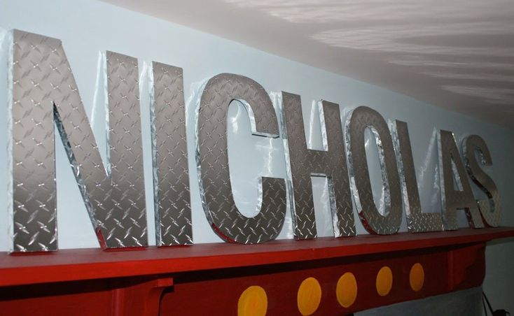 CONSTRUCTION SITE Diamond Plate Children's Custom Wall Letters. $14.00, via Etsy. if i ever have a boy