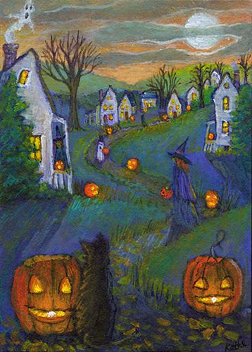 'Jack o'Lantern Lane 2' by Kathe Soave, ACEO Halloween pumpkins witches ghosts cats art card