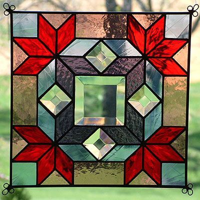 "Stained Glass Quilt Patterns | Details about NEW 9"" Stained Glass Quilt Pattern Panel Suncatcher 918"