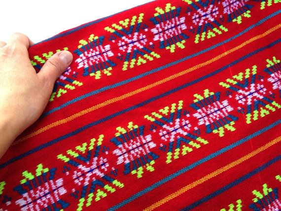 Red Mexican Fabric   3 yard  Aztec Tribal  by NellywithWings
