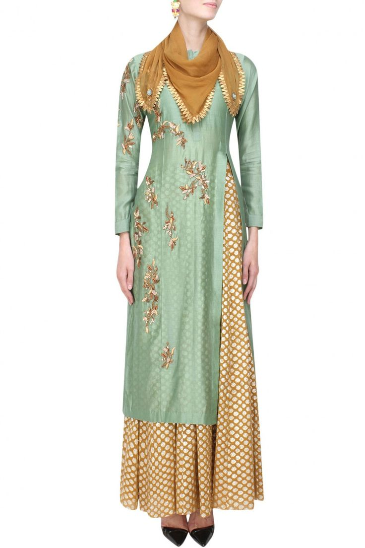 Joy Mitra presents Green floral embroidered kurta and gold brocade skirt with golden scarf available only at Pernia's Pop Up Shop.