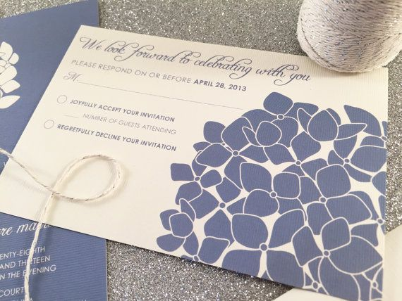 Hydrangea Wedding Invitation Suite Sample Silver by vohandmade