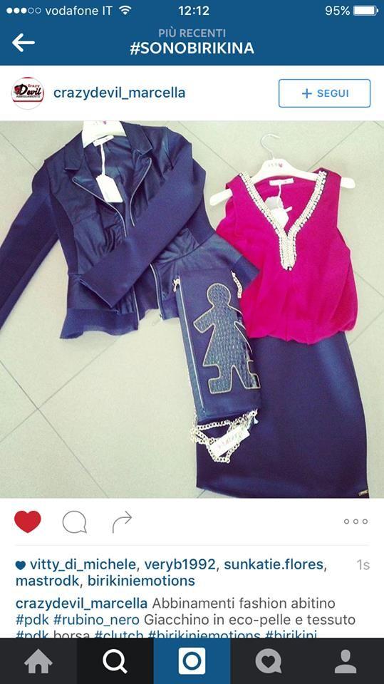 Abitino, giacchino e clutch nera #biribag! Un abbinamento davvero fashion! #sonobirikina #birikinidonna #madeinitaly