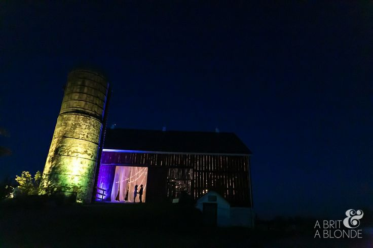 Exterior barn up lighting to bring out its stunning features. Another great shot by A Brit and A Blonde at Cambium Farms! #barnwedding #caledon #cambiumfarms #farmwedding