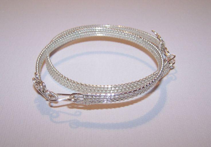 Minimalist Wire Wrapped Silver Bangle Bracelet, Cuff Bracelet, Bracelet From Silver Plated Copper Wire by IacobJewelry on Etsy