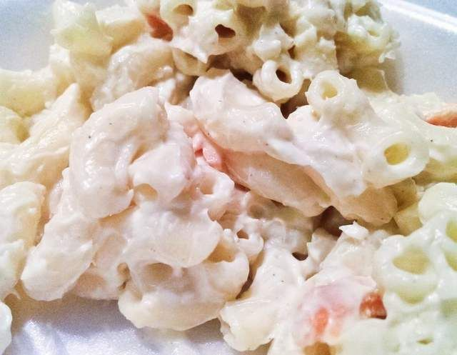 Hawaiian macaroni salad from LL - grate two carrots, finely grate 1/4 cup sweet onion, add a splash of milk.