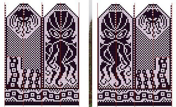 Cthulu! It's on a Russian site, but as long as you can chart read and have a basic understanding for making this type of mitten you should be good to go.