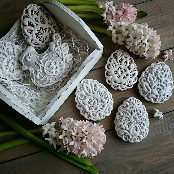 Купить Набор Пряников Пасхальных Ришелье в деревянном ящичке - пряник, расписной пряник, пасхальный сувенир