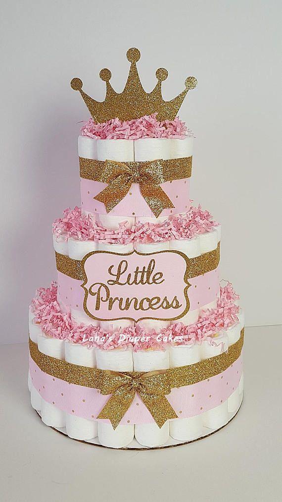 25 +> 3 Tier Pink & Gold kleine Prinzessin Windel Kuchen, Mädchen Baby Dusche Herzstück, Tiara Dekoration