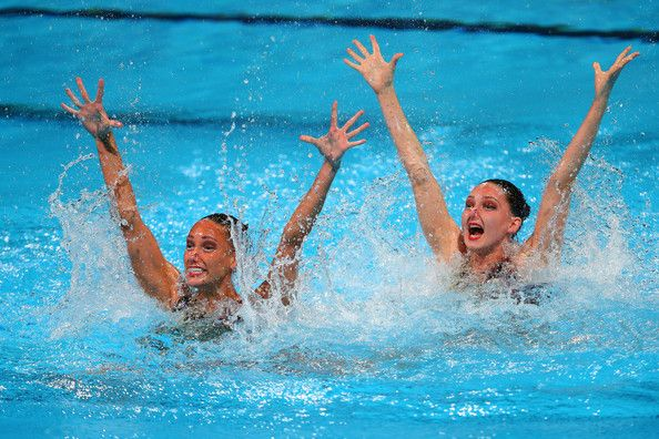 Jenna Randall and Olivia Federici of Great Britain compete in the Synchronized Swimming Duet Technical final on day two of the 15th FINA World Championships at Palau Sant Jordi on July 21, 2013 in Barcelona, Spain.