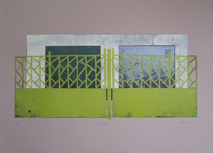 Garages - linocut, 2012, Barbora Hermanova