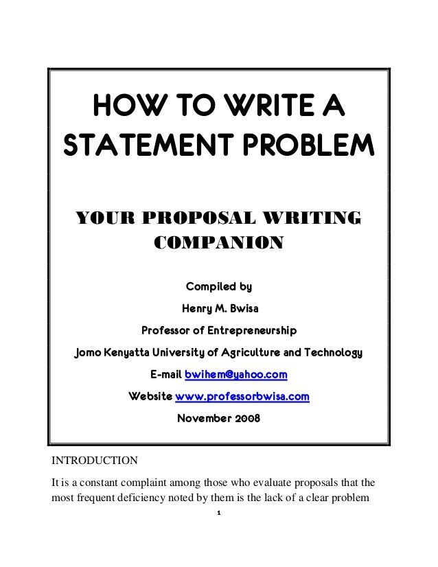 Best  Proposal Writing Sample Ideas On Pinterest  Proposal  How To Write A Statement Problem Your Proposal Writing Companion Compiled  By Henry M Bwisa