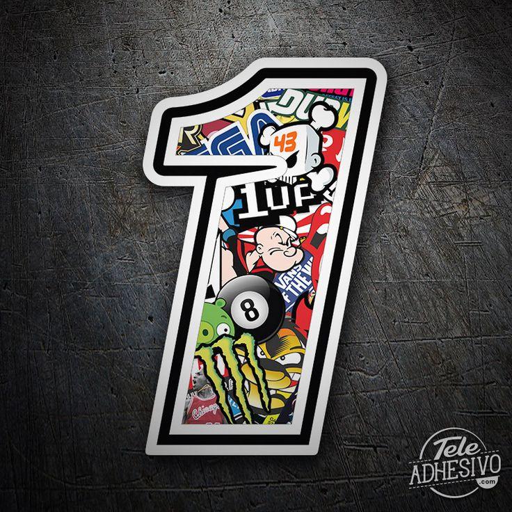 Pegatinas: Número 1 Speed Stickerbomb #pegatinas #numero #adhesivo #decoracion #moto #coche #TeleAdhesivo