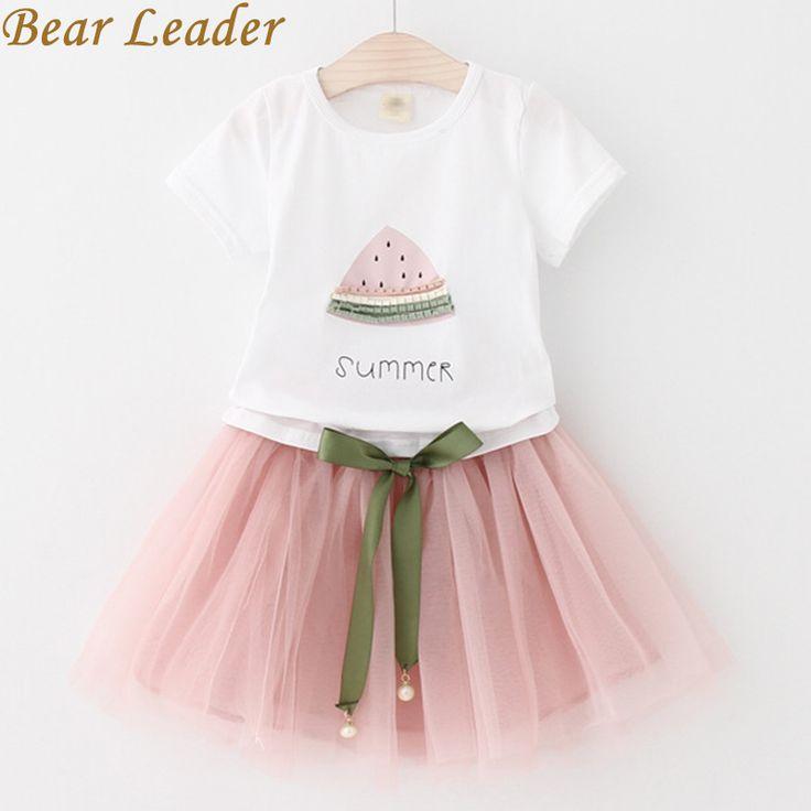 Establece nuevos ropa de las muchachas 2017 niños del verano que dresseswhite líder del oso t cortas 2 piezas traje de falda corta los niños de la marca de ropa camisa + en juegos de la madre y de niños ropa en AliExpress.com | Grupo Alibaba