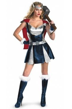 Blue Womens Adult Marvel Sassy Thor Halloween Costume on sale at reasonable prices, buy cheap Blue Womens Adult Marvel Sassy Thor Halloween Costume online at PinkQueen.com now!