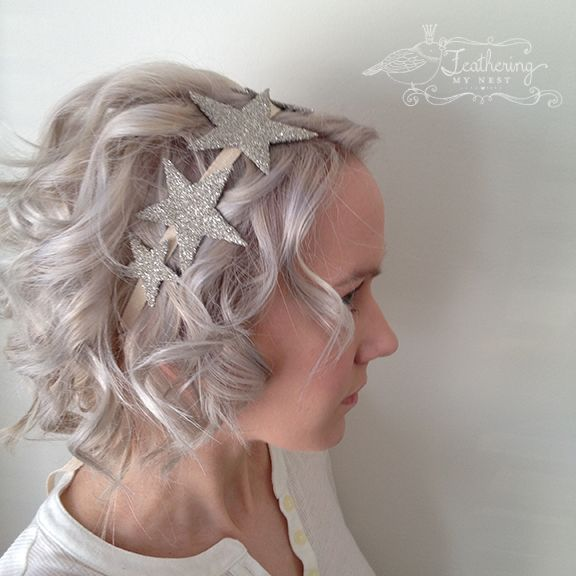 DIY glitter star hair ribbon tutorial