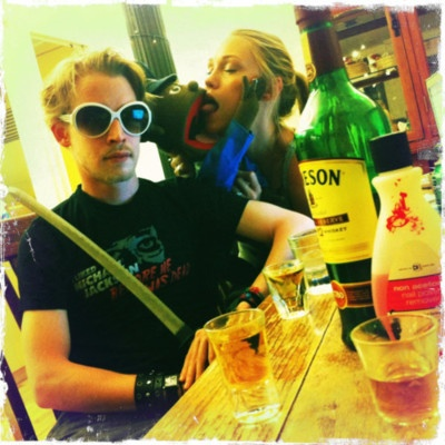 """taintmansion:    Seth Green just tweeted this picture of Macaulay Culkin drinking whiskey and wearing a shirt that says """"I liked Michael Jackson before he was dead."""""""