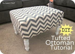 DIY Tufted Ottoman Tutorial from SixSistersStuff.com.  Step by step instructions on how to recover an ottoman on the cheap! #ottoman #crafts