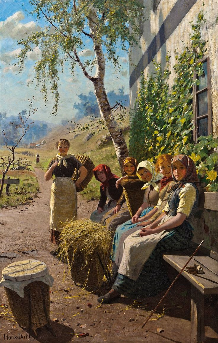 """""""Rest of Haymakers"""" , by Hans Dahl, Norwegian artist. Painting shows the farm women in their everyday dress."""