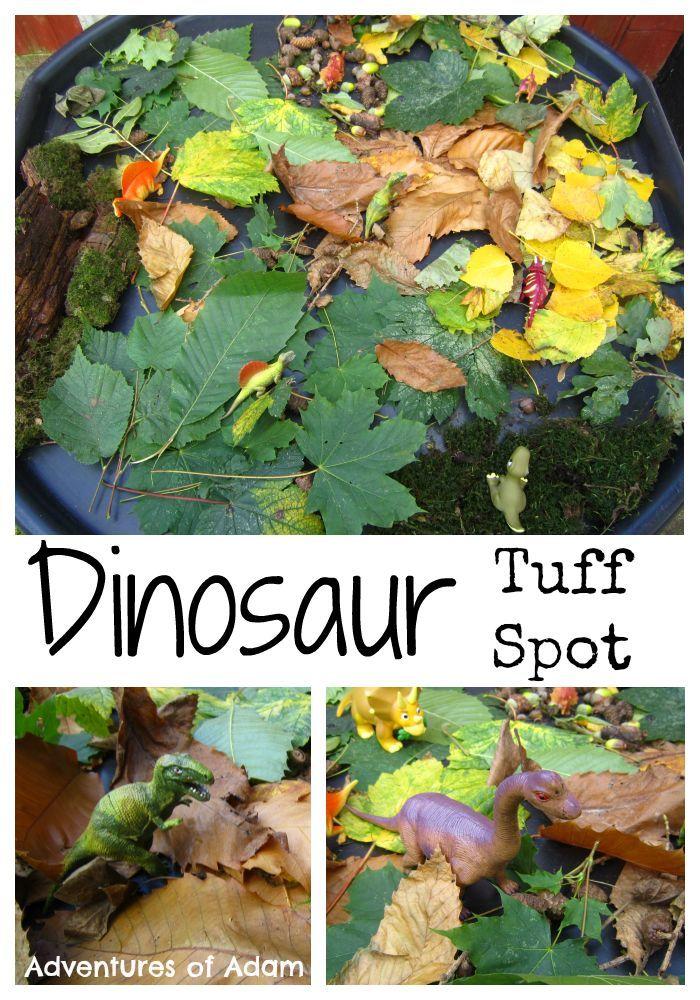 Dinosaur Tuff Spot and small world using autumn leaves Adventures of Adam Dinosaur Tuff Spot