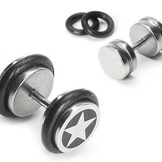 bkwear 2x F148 Boucles d'oreilles Étoile 316L d'Acier Inoxydable 8 mm Caoutchouc Faux Ecarteur Plug Estrelle - Convient pour trous l'oreille normale: Amazon.fr: Bijoux