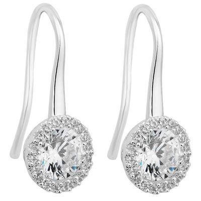 Jon Richard Clara silver cubic zirconia sleek drop earring- | Debenhams
