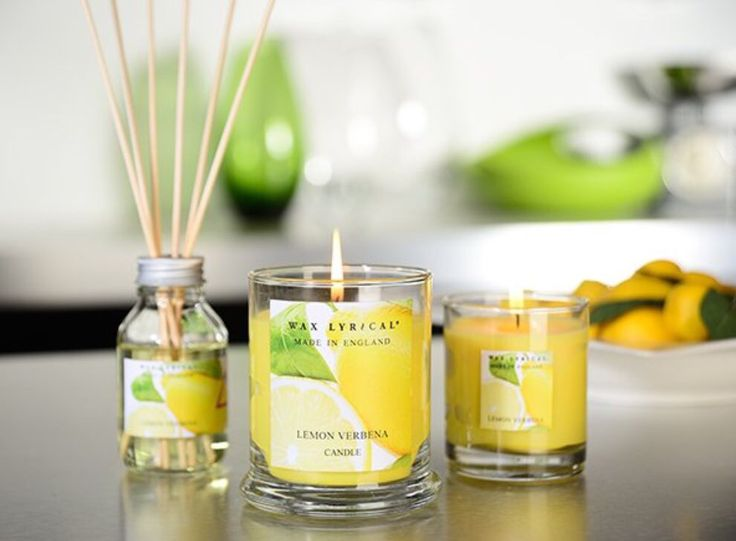 Lovely lemon verbena scented candles from Wax Lyrical available in store.